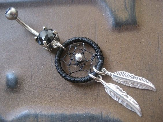 Black Thread Dream Catcher Belly Button Ring- Silver Feather Dreamcatcher Charm …