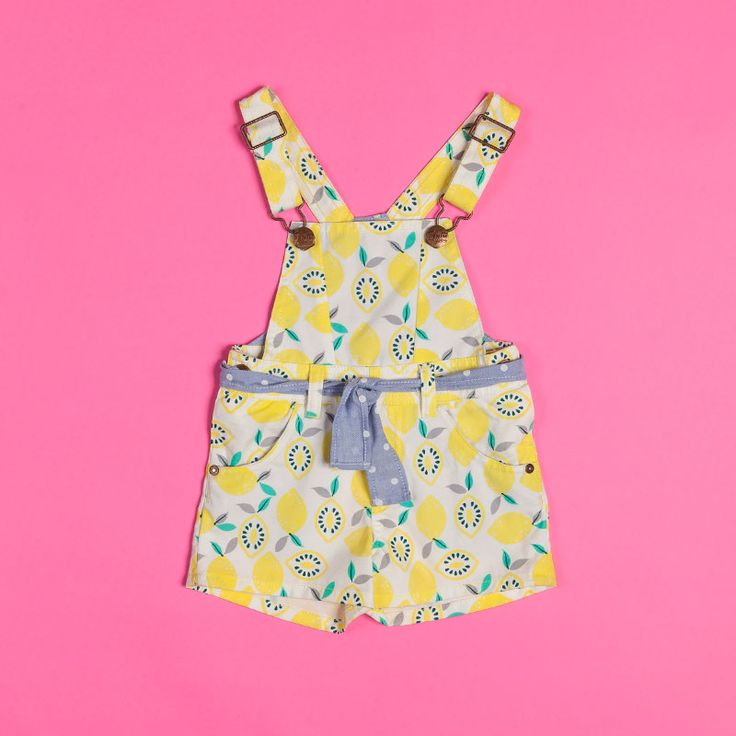 Collection inspired by acid and citric fruits. Jumper short for baby girl #lemonprint #summer #verano #denim @OFFCORSS