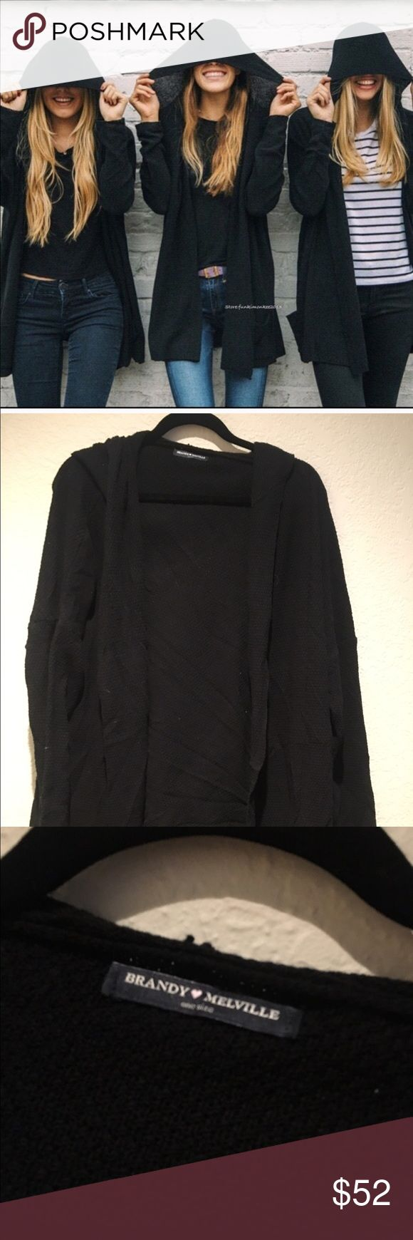 Brandy Melville black knit hood cardigan Brandy Melville black knit hood cardigan worn once, great condition Brandy Melville Sweaters Cardigans
