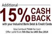 New Snapdeal 15% CashBack with Indusind Bank Debit & Credit Cards users. Purchase anything from Snapdeal store and use your Indusind Debit Card & Credit cards to pay and you'll get extra 15% cashback. You'll be able to enjoy great savings across multiple categories like Electronics, Fashion & Home products etc, on 500+ categories. Check details below.