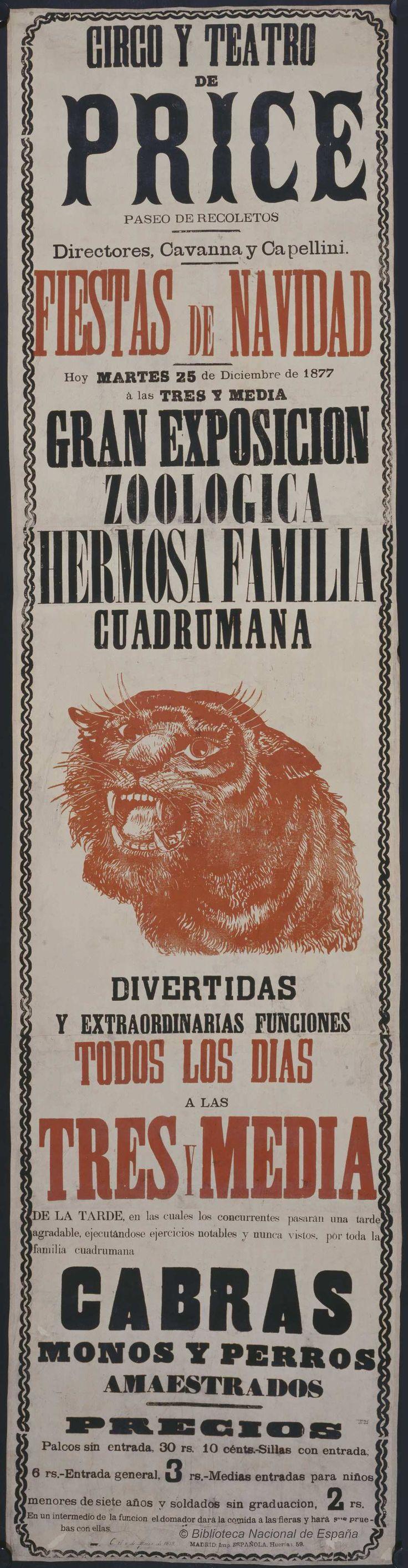 Gran exposición zoológica. Circo Price — Dibujos, grabados y fotografías — 1877 http://bdh-rd.bne.es/viewer.vm?id=0000018536