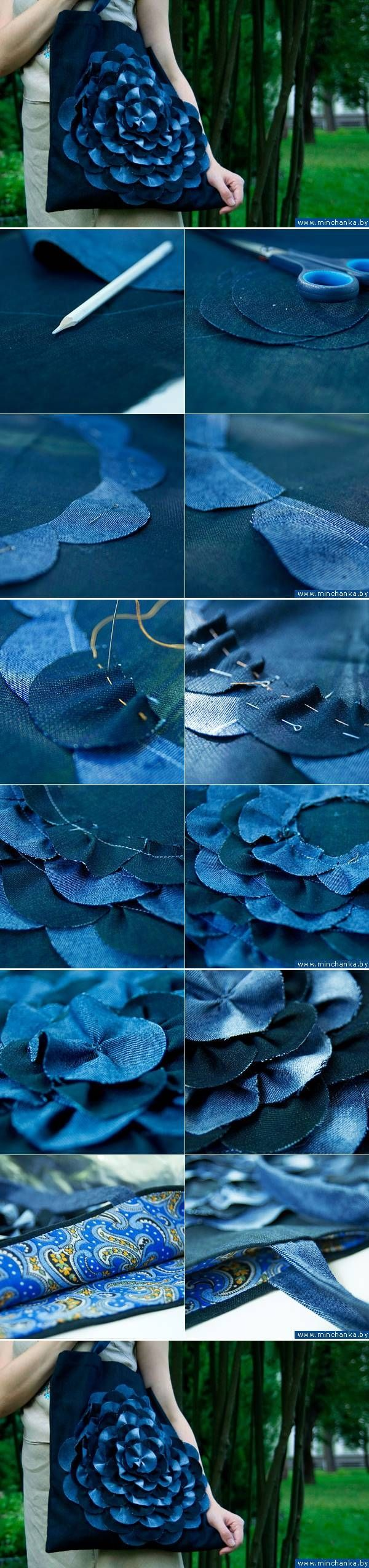 DIY Denim Flower Bag: a great way to recycle old jeans...in Russian