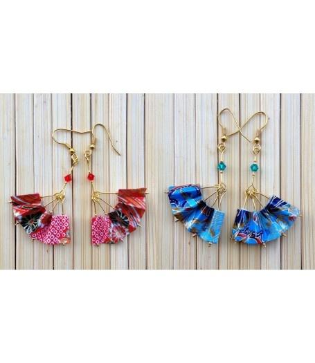 Chinese Fan Earrings by Miss Chopsticks Origami Jewellery