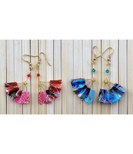 Chinese Fan Earrings by Miss Chopsticks Origami Jewellery