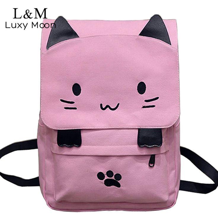 Милый холст рюкзак Кот Вышивка школьная сумка для подростков Обувь для девочек Рюкзаки Повседневное уши большие Сумки розовый Mochila XA909H