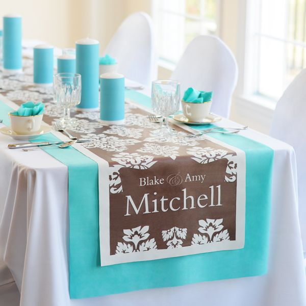 Damask Decorative Table Runner. I found this in the April edition of Brides magazine I'm getting this :-): Bride Magazines, Wedding Decor, Wedding Ideas, Anniversaries Decor, Grooms Tables, Wedding Reception, Tables Runners, Decor Tables, Damasks Decor