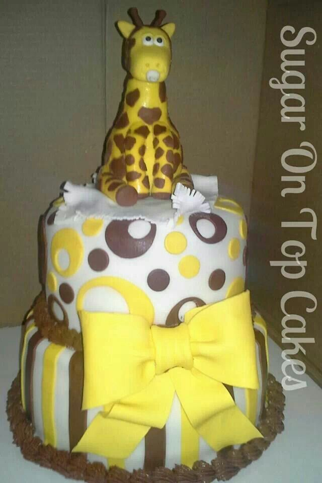 gender neutral brown and yellow baby shower cake giraffe