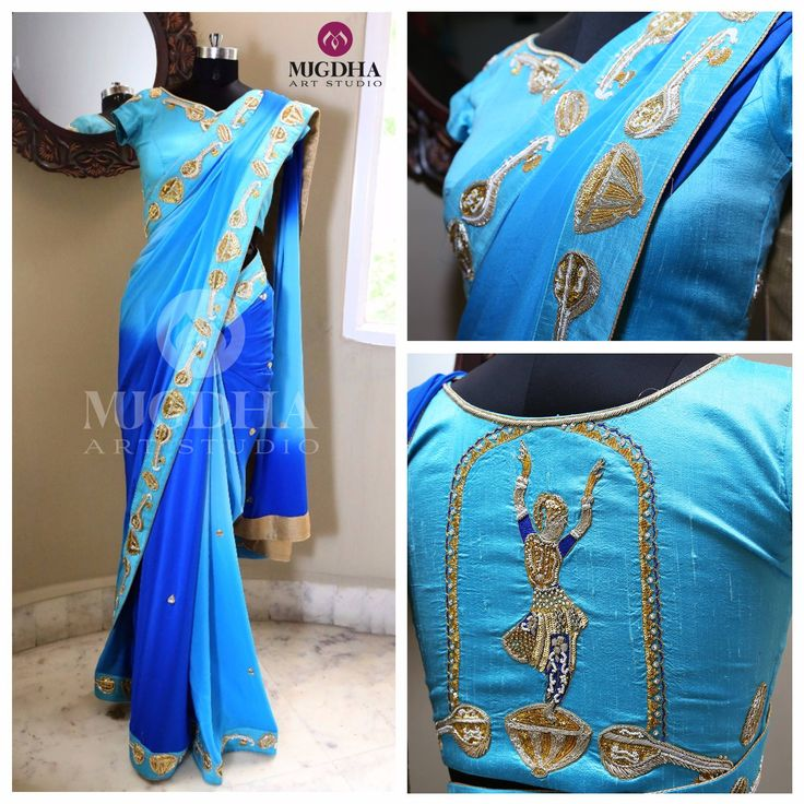 A Full of Artistic Saree and Blouse in Perfect Colors and Embroidery from the Creative House of MugdhaArtStudio.They  can customize the color and size as per your requirement.Product code : SC 245To Order  :WhatsApp: +91 8142029190 / 9010906544 For Call: 8899840840 (IVR)  23 June 2017