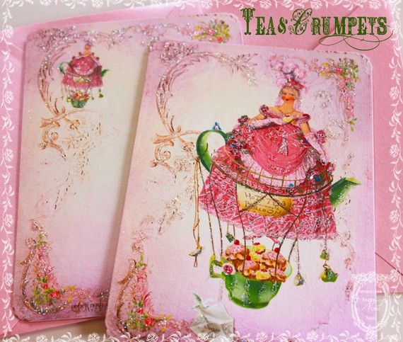 Tea and Crumpets Tea Party Jane Austen Style Card or Invitations Set with Shimmering Pink Envelopes