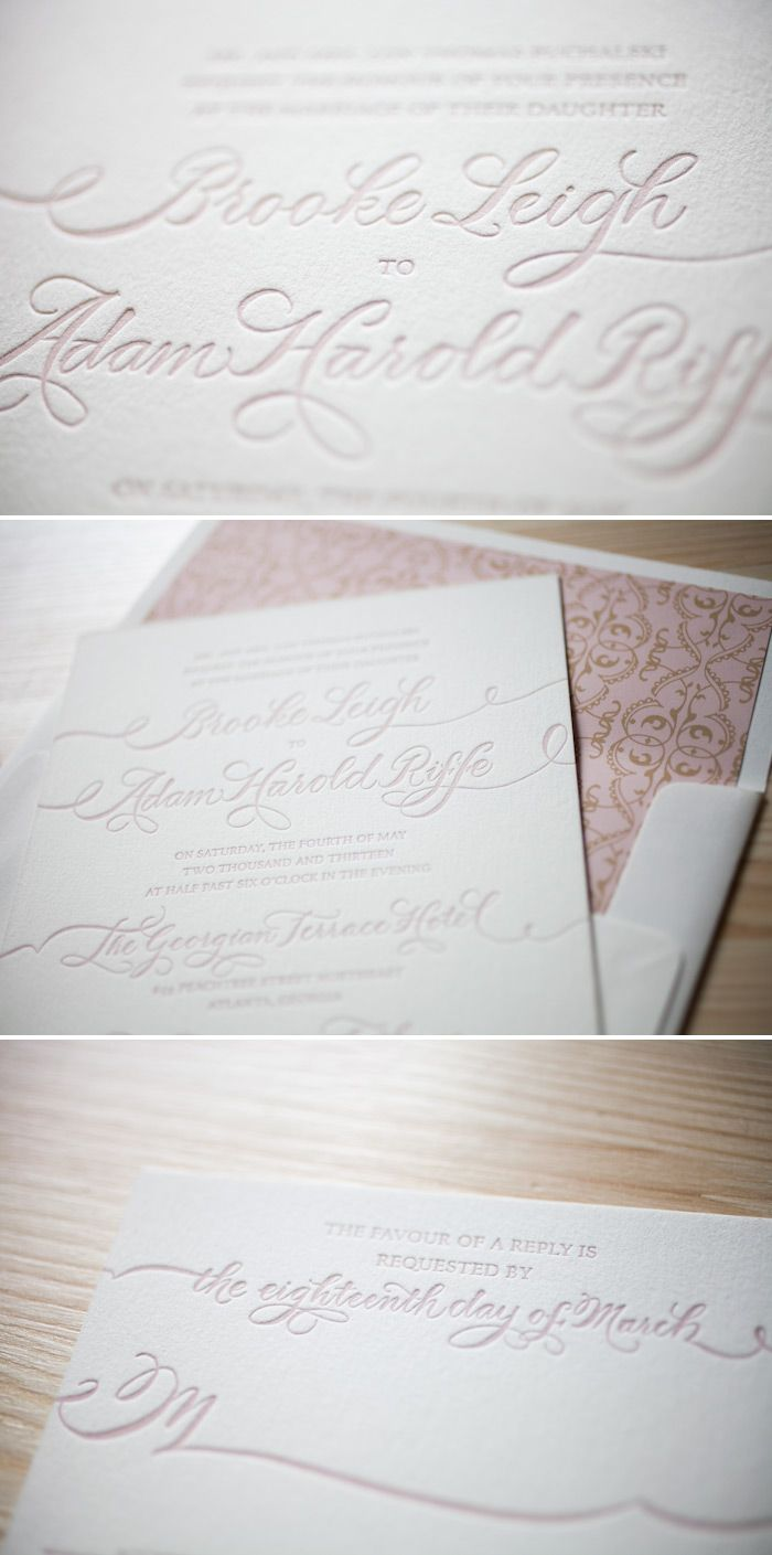 Pretty pink letterpress creates the most romantic