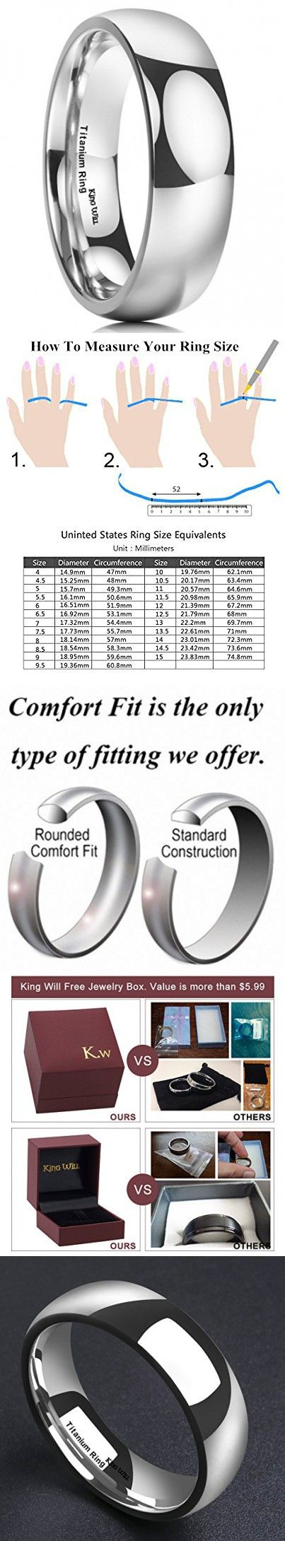 king will 7mm titanium ring domed polished comfort fit wedding band for men 125