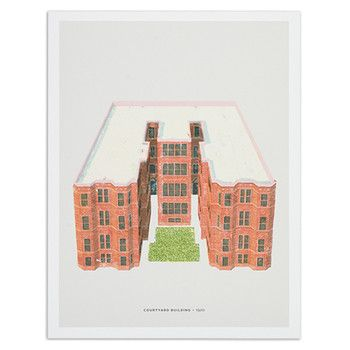 "Chicago Courtyard Building 12"" x 16"" Print, by ALSO"