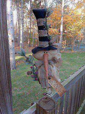 FOLK Art PrimiTive ChrisTmas Holiday WinTer SNOWMAN DOLL Tree Topper DecoraTion