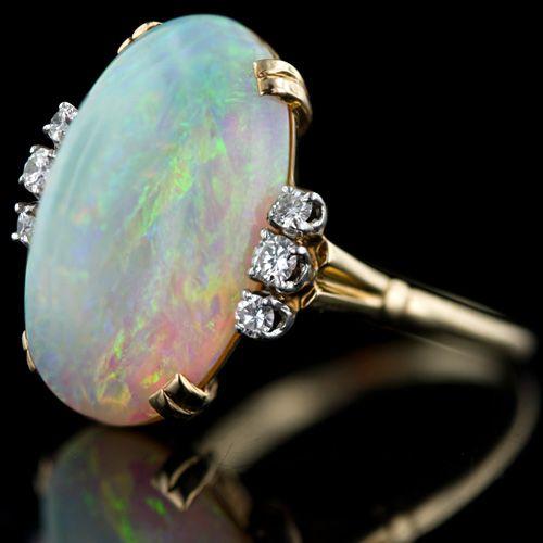 Vintage Opal & Diamond Ring| Aussi ce qui arrive à être désagréable , comme toujours, je pense toujours le cas .