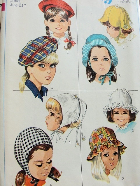 1960S SIMPLICITY CHILD'S AND GIRL'S HAT PATTERNS 79771960S Children, 1960S Simplicity, Girls Generation, Girls Hats, Hat Patterns, Simplicity Child, Children Clothing, Hats Pattern, Pattern 7977