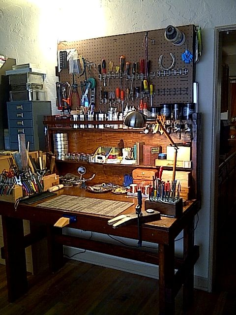 My custom~designed and hand~made jeweler's workbench....