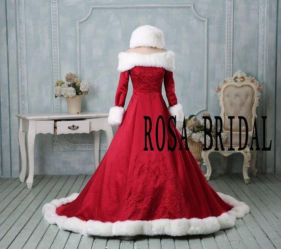 Christmas wedding dress, Winter bridal dress, Warm wedding dress, Bridal embroidery wedding gown, Winter long sleeve bridal dress Custom