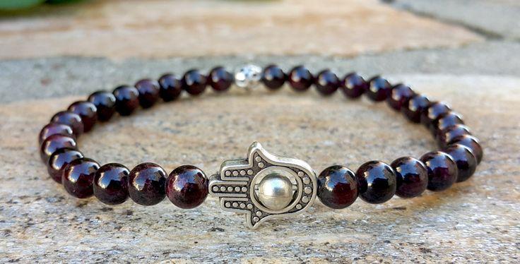 Fertility Bracelet, Red Garnet, Hamsa Jewelry, Natural Gemstone Yoga Bracelet, Protective Gift, Mothers Day Gift, Good Luck, Money, Love