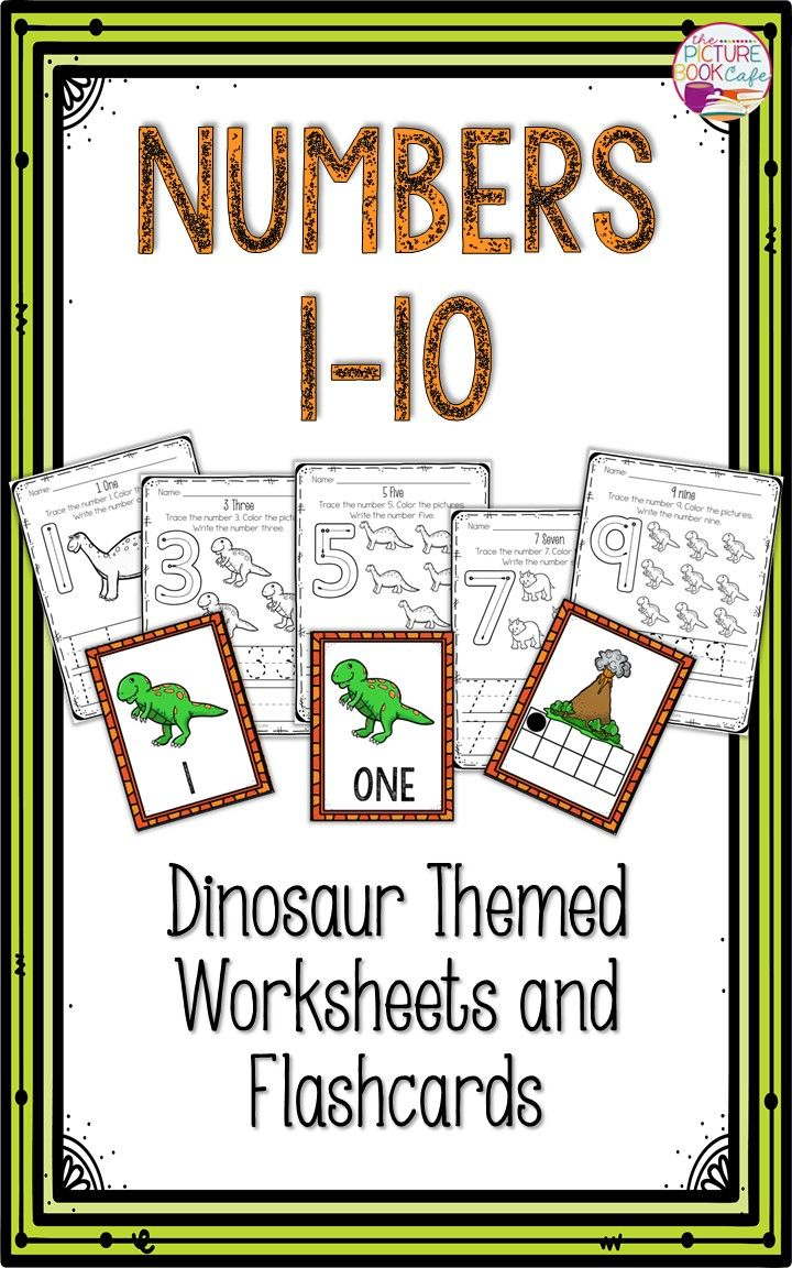 This Packet Is About Numbers 1 10 And Is Perfect For Young Learners There Are Coloring Sheets That Include Numbers 1 10 Numbers For Flashcards Theme Dinosaur