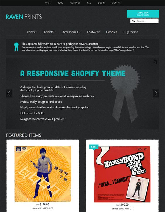 This dark Shopify theme has a responsive layout, Google Fonts, MailChimp newsletter integration, flexible slideshows, a dropdown menu, social sharing, easy color, background, and font customization, a working contact form, and more.