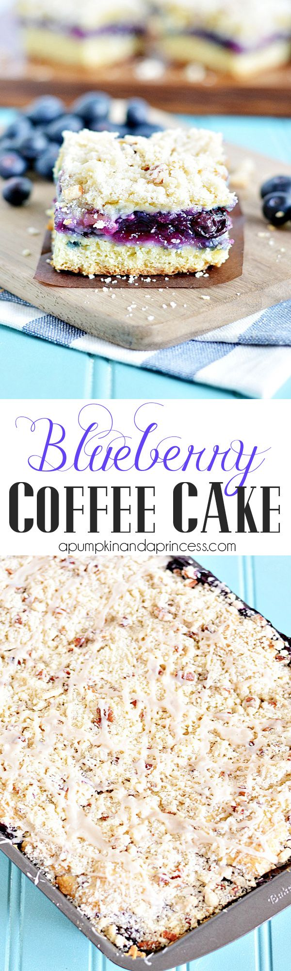 Blueberry Streusel Coffee Cake Recipe ~ A classic coffee cake with blueberry filling, a pecan and walnut crumb topping, and vanilla glaze.