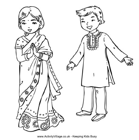Children around the world - Indian kids in traditional costume....great coloring pages for many countries