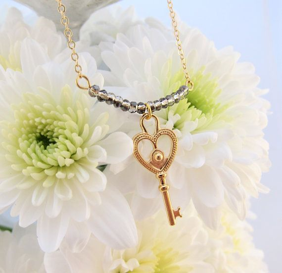 Key To My Heart Pendant Chain Necklace with Tiny Faceted Beads - Love!