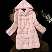 2017 Моды натуральный мех пальто женщин полный рукав волны cut подлинная кролика меховые теплые зимние пальто и куртки с a капот