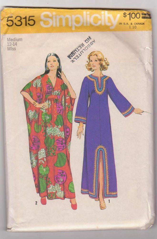 70s Vtg Pattern Simplicity 5315 Hippie Caftan Loungewear Kimono Sleeve MED #simplicity #retromodhippie