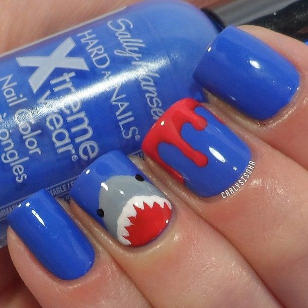 #nailartaug day 7- character. Jaws is a character, right?! But these also double as shark week nails of course! Base color is Sally Hansen- Pacific Blue