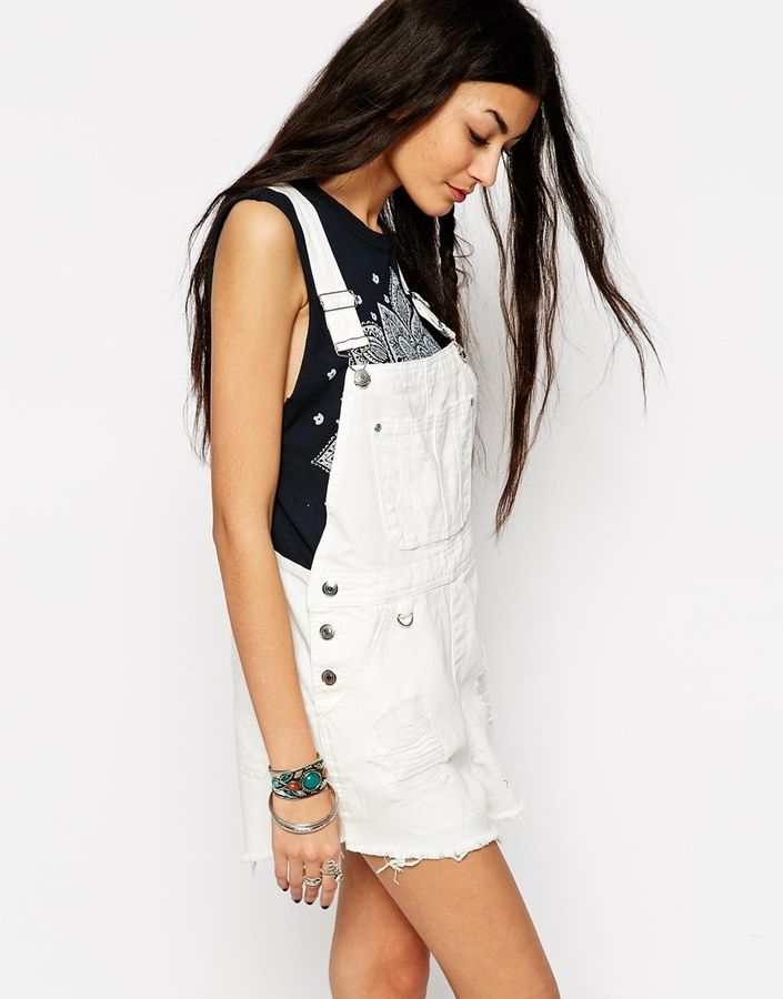 ASOS COLLECTION ASOS Festival Denim Overall Short in White with Raw Hem