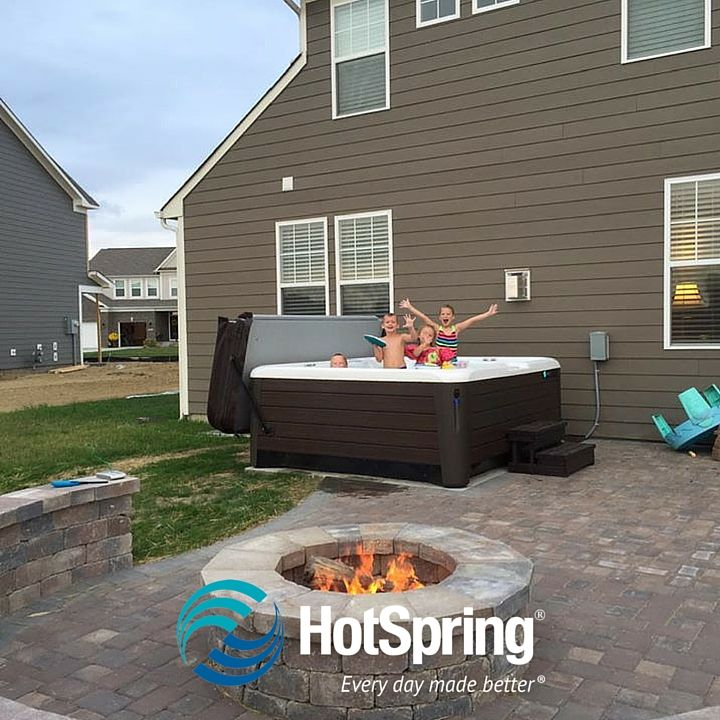 The Burkholder Kids Love Time In Their Hot Spring Grandee Spa!  #HotSpringSpas