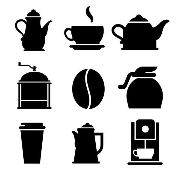 9 coffee silhouette element vector graphics