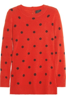 polka dot cashmere sweater from @jcrew