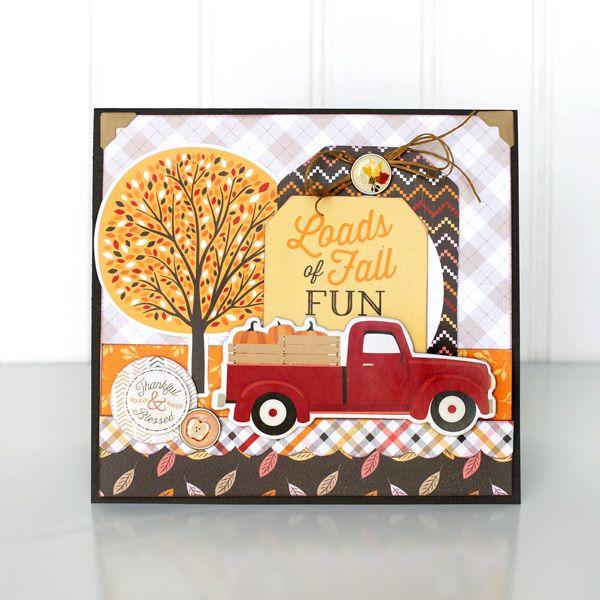 Card Car Truck Pumpkin Fall Autumn Tree Leaves Foliage Loads Of Fun Jana  Eubank Carta Bella Hello Fall Truck Card   Carta Bella Paper Pad
