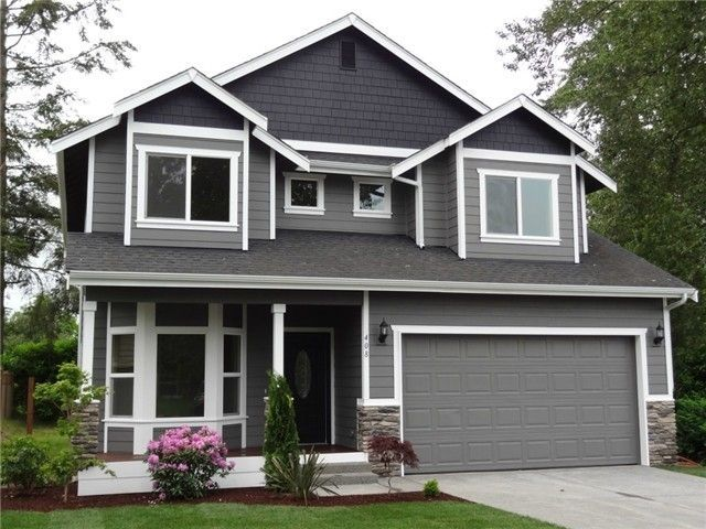 Paint idea dark grey on top w white trim homies - What color door goes with gray house ...