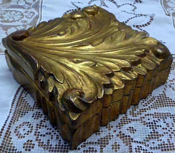 Vintage Gold Italian Jewelry Box by StarLadysJourney on Etsy & 122 best Jewelry Box casket and Armoire images on Pinterest ... Aboutintivar.Com