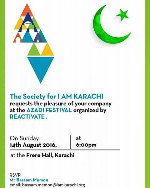 #IAMKARACHI requests the pleasure of your company at the #AZADIFESTIVAL organized by #REACTIVATE.  Date: 14th August 2016 Venue: #FrereHall Time: 6:00pm to 8:00pm  #followme #insta #instagram #instapic #instagood #instafollow #instagramers #instalike #instafashion #instafamous #lifestyle #style #model #samysays #glam #glamour #artist #fashion #fashionista #fashionblogger