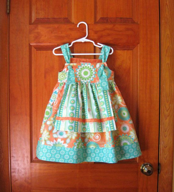 knot dresses for girls | Girl toddler apron knot dress with ruffled pants turquoise, orange and ...