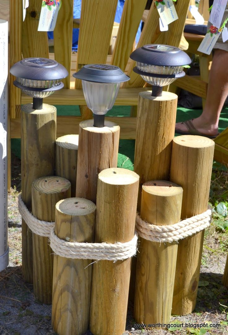 solar light wood craft | Solar powered beachy lighting.