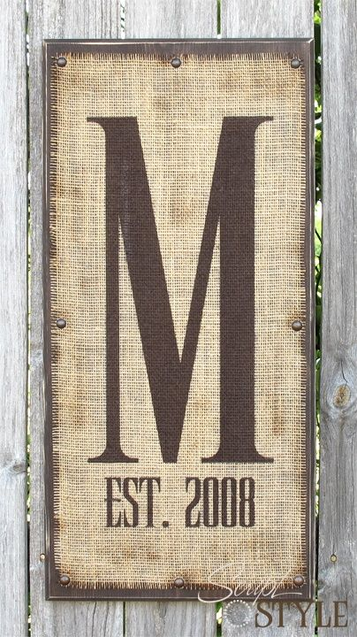 Monogram on burlap with letter and marriage year. - Click image to find more DIY & Crafts Pinterest pins