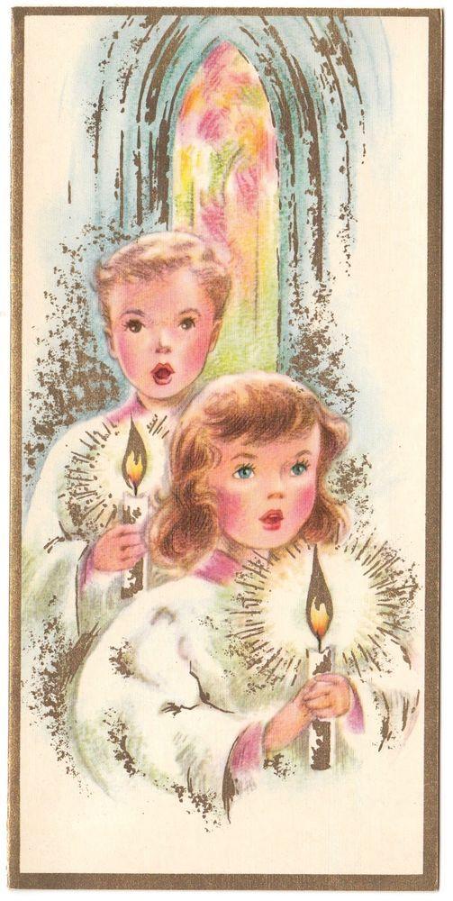 Vintage Greeting Card Christmas Children Choir Altar Boy Girl Mid-Century