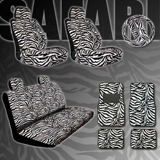 15pc Safari Zebra Car Seat Covers Steering Wheel Mats