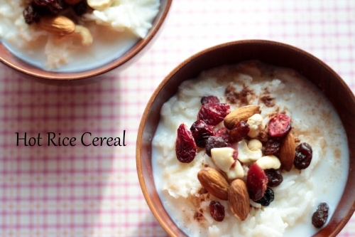 Hot Rice Cereal. Use long grain brown rice and maple syrup. Great way to use up left over rice. Gluton Free