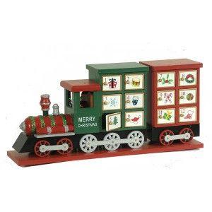 Ξύλινο τρενάκι με ντουλαπάκια ημερολόγιο Χριστουγέννων 19x42cm