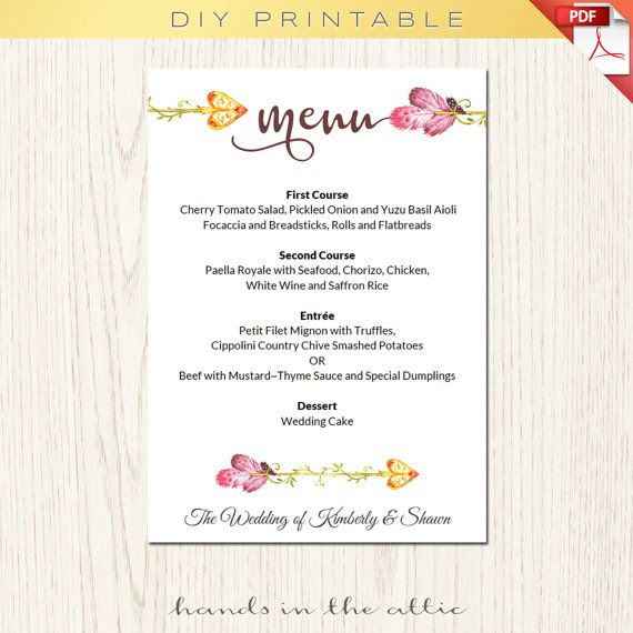 Best Wedding Menu Cards Images On   Menu Templates