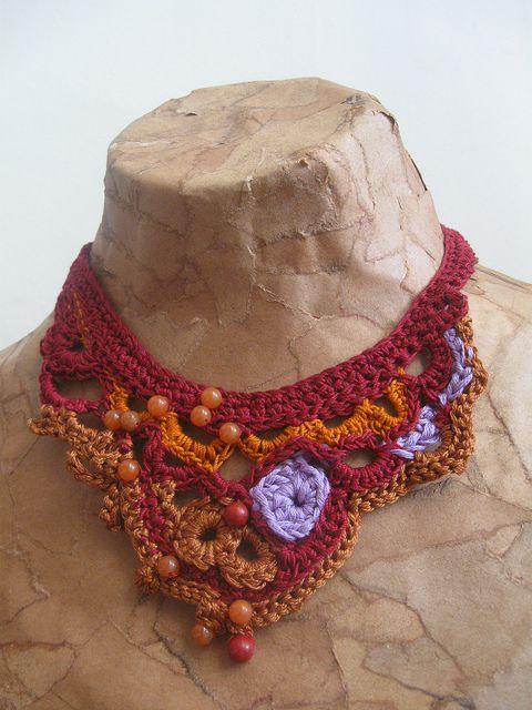 freeform crochet necklace