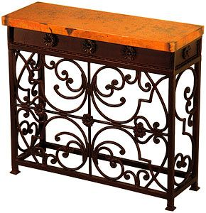 The Small Gate console table (Elena?) is highlighted by intricate iron work with a mirrored design and a colorful hammered copper top. Incorporate a bold statement of southwestern style in any hallway or living room with this piece! A longer version is also available below.   LaFuente.com