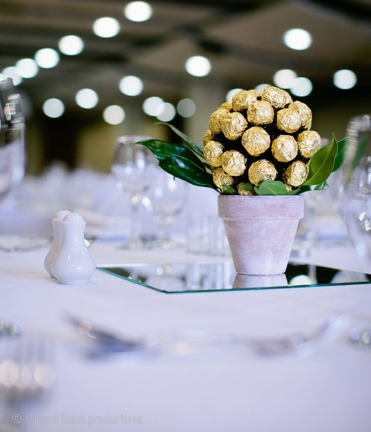 Ferrero Rocher topiary tree centrepiece