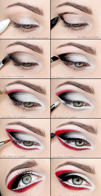 Red punkFashion Beautiful, Make Up, Red, Black Eye, Blue Eye, Makeup Eye, Eyemakeup, Halloween Ideas, Eye Makeup Tutorials